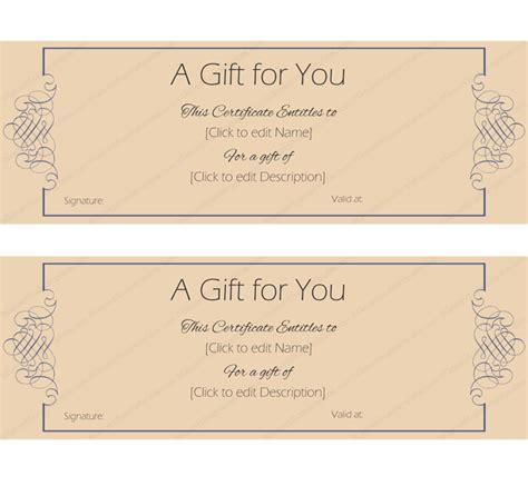 formal note gift certificate template create gift