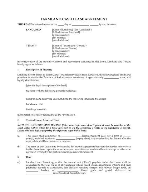 Agreement Letter For Renting Land saskatchewan farm land lease agreement forms