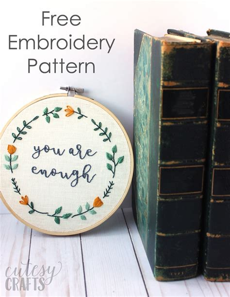 embroidery quotes quot you are enough quot embroidered quote cutesy crafts