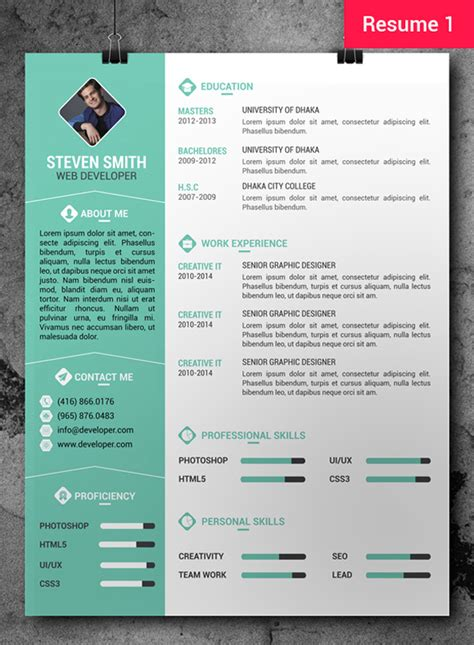 free cv template free cv resume psd templates freebies graphic design