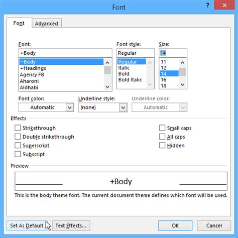 default word template change the default font size and style in word 2013 and 2016