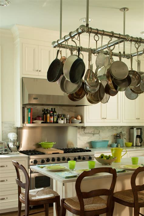 kitchen island with hanging pot rack organize your kitchen southern living