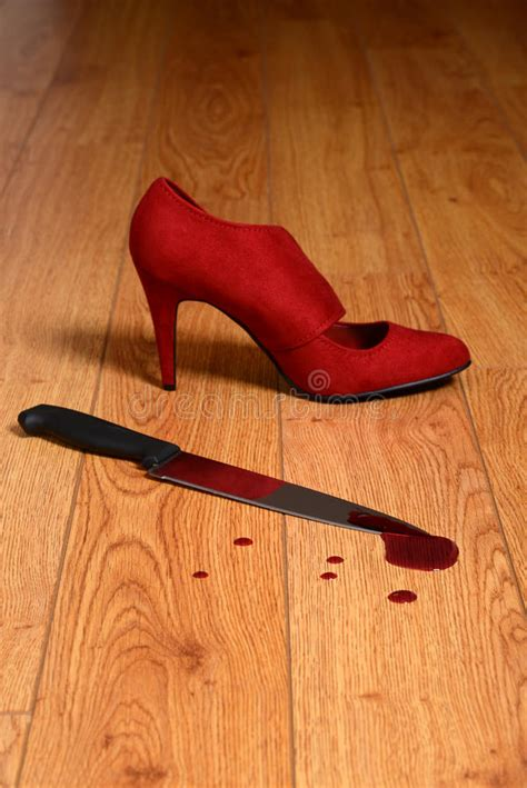 Shoe Crimes Connelly On The Carpet by Bloody Knife With High Heel Shoe Stock Photo Image 38663860