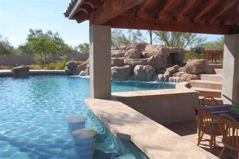 phoenix swimming pool waterfalls features arizona unique custom pools az photo gallery