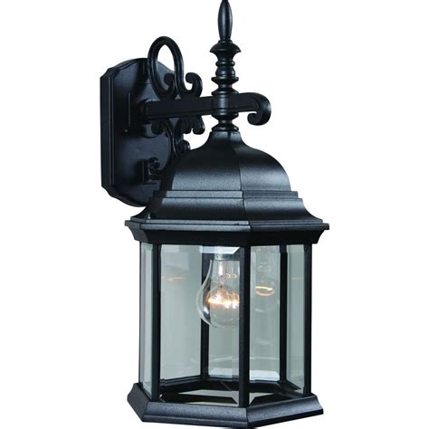 Home Depot Outdoor Wall Lighting Volume Lighting 1 Light Black Outdoor Wall Sconce V8120 5 The Home Depot