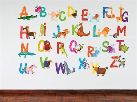 large alphabet wall stickers colour animal alphabet wall sticker available in 2