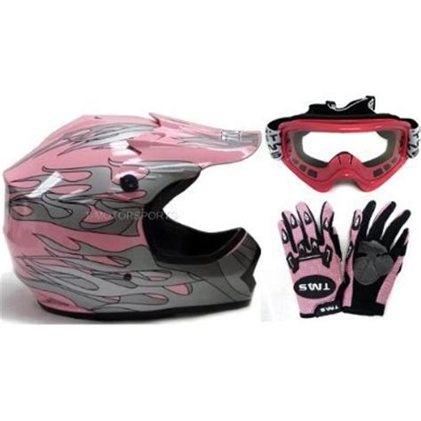 pink motocross goggles tms youth pink dirt bike atv motocross helmet with goggles