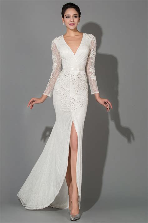 Sexy White Lace V Neck Long Sleeve Wedding Dresses Crystal