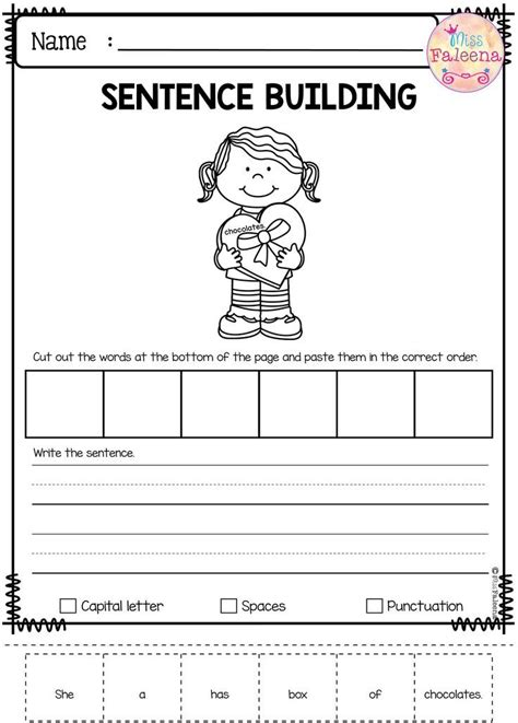 february sentence building kindergarten worksheets