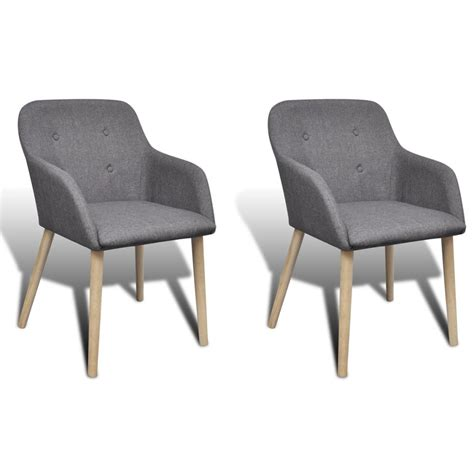 Fabric Chair Dining Set 2 Pcs Fabric Dining Chair Set With Armrest Gray Vidaxl