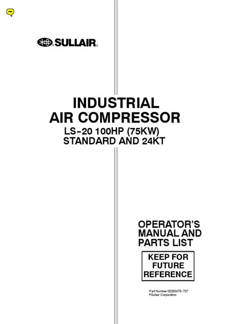 sullair compressor parts list wiring diagrams repair