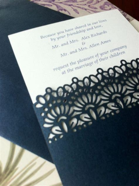 wedding invitation pocket sleeves laser cut wedding invitations die cut wedding invitations lace pocket sleeve invitations