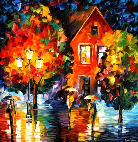 Wall Murals Cityscapes midnight rain palette knife oil painting on canvas by