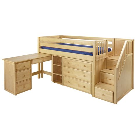 Bunk Bed With Desk And Dresser Great Low Loft Bed With Dresser Bookcase Desk And Staircase