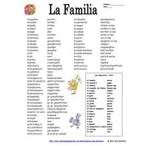 spanish family amp pets vocabulary reference 75 words