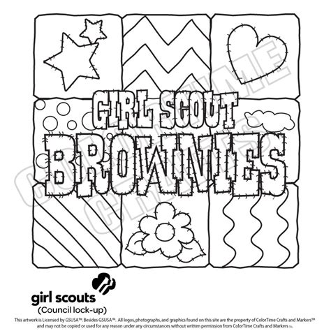 Girl Scout Coloring Pages For Brownies Girl Scouts Scout Brownie Coloring Pages