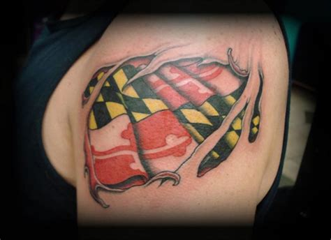 maryland flag tattoo crucial studio maryland custom tattoos