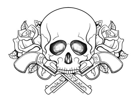 free color skulls flames coloring pages