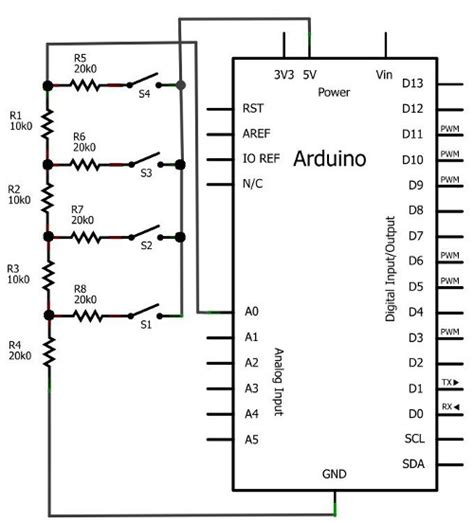 arduino resistor analog input tutorial analog input for buttons part two