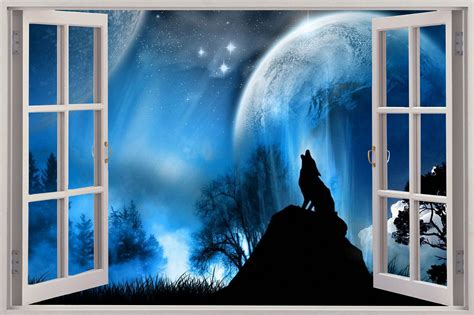 wolf wall mural 3d window lone wolf at view wall sticker mural decal 205 ebay