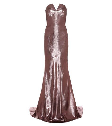 light pink metallic dress roland mouret brenner metallic silk blend gown light rose