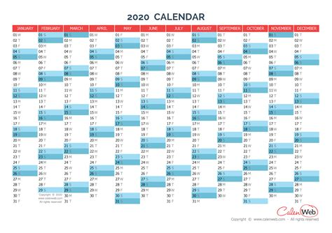 2020 Year Calendar Yearly Calendar Year 2020 Yearly Horizontal Planning