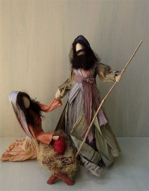 corn husk doll nativity set and the said unto them fear not for behold i