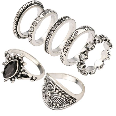 yunkingdom vintage small size ring set simple fashion