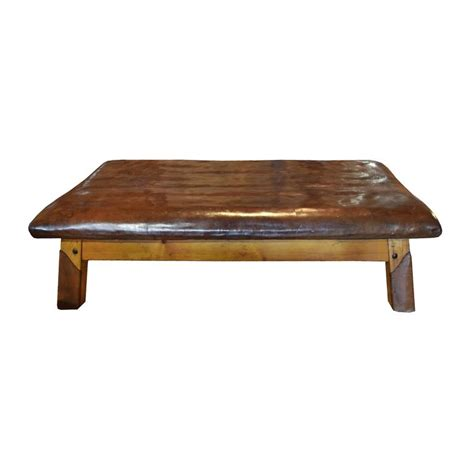 leather and wood bench wood and leather vaulting bench for sale at 1stdibs