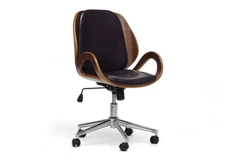 baxton studio watson walnut and black modern office chair