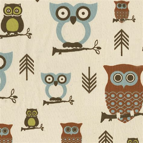 owl upholstery fabric retro owls fabric by the yard blue fabric carousel designs