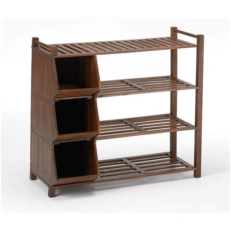 outdoor shoe storage merry products 4 tier outdoor shoe rack and cubby