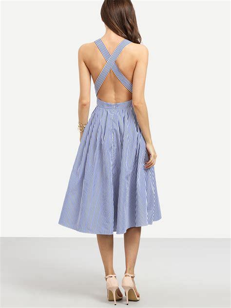 Promo Pocket Midi Casual Kulot blue striped sleeveless criss cross back dress emmacloth