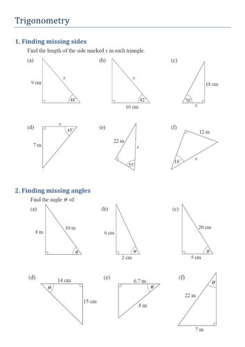 Finding Missing Angles Worksheet Answers by Trigonometry Finding Missing Sides And Angles By