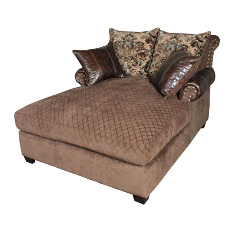 Furniture Brown Fabric Tufted Oversized Chaise Lounge