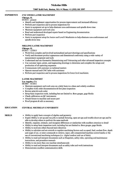 Machinist Resume by Lathe Machinist Resume Sles Velvet