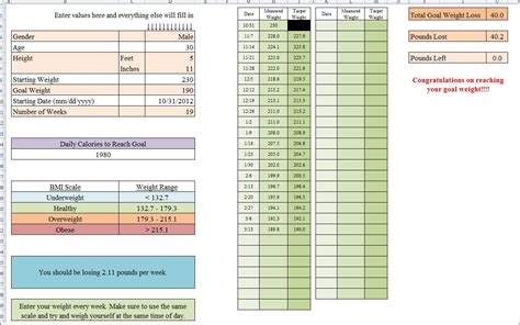 weight template weight loss competition excel template yes you can diet