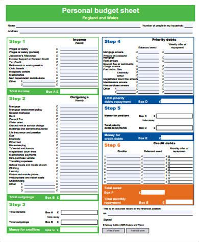 personal monthly budget form sle monthly budget forms 9 free documents in word pdf