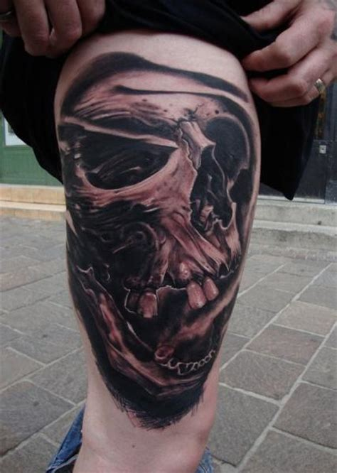 tattoo prices portugal skull thigh tattoo by victor portugal