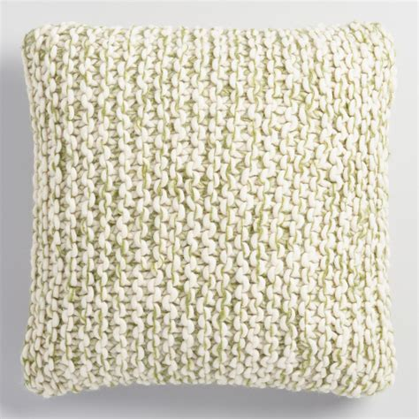 knit pillow green and ivory chunky knit throw pillow world market