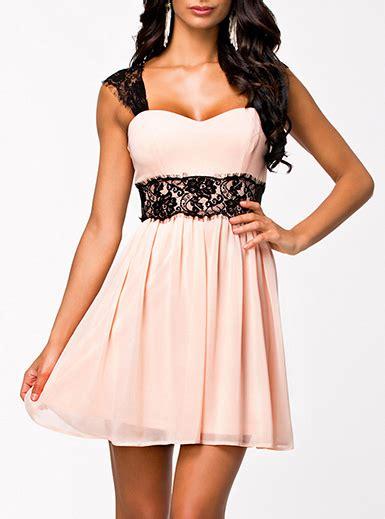 Dress Lace Pink Black chiffon dress lace waist and straps sweetheart