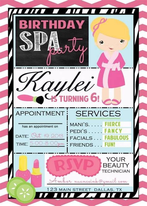 spa birthday invitation template best 25 spa invitations ideas on nail