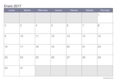 Enero De 2017 Calendario Calendario Enero 2017 Para Imprimir Icalendario Net