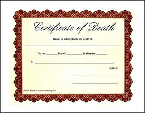 fake death certificate template exle sle templates