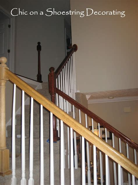 stair banister chic on a shoestring decorating how to stain stair