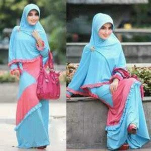 Syarii Batik Biru baju gamis set bergo kirana jual busana muslim syarii