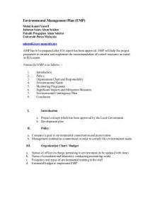 Report Writing About Environment by Environmental Management Plan Report Format