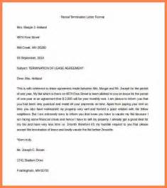 Rental Lease Agreement Termination Letter 4 Sle Termination Of Lease Agreement Letter Purchase Agreement