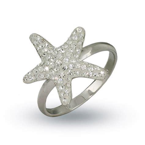 sterling silver swarovski starfish ring ebay