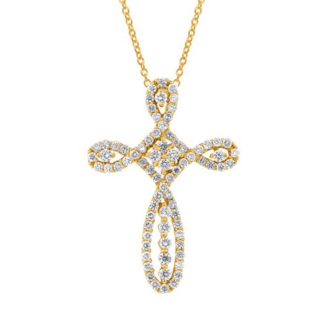 0 99ct 18k yellow gold cross pendant necklace
